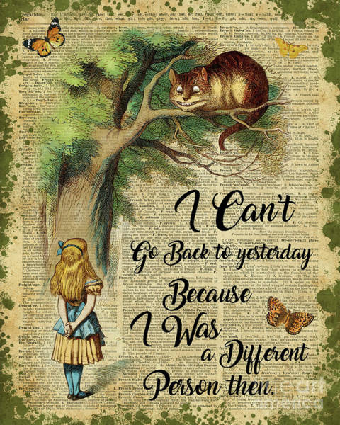 Childhood Digital Art - Alice In Wonderland Quote,cheshire Cat,vintage Dictionary Art by Anna W