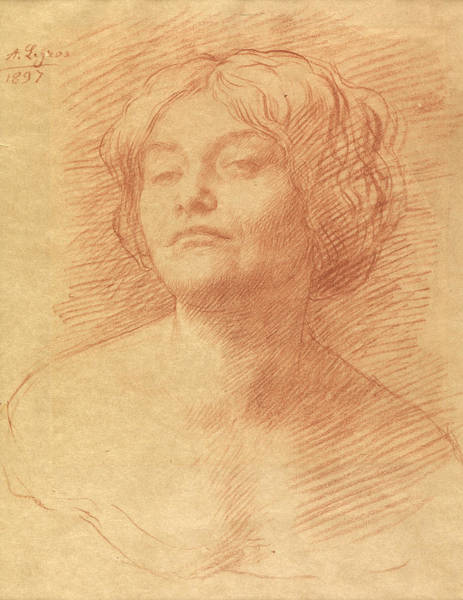 Crayon Drawing - Alice Knewstub by Alphonse Legros