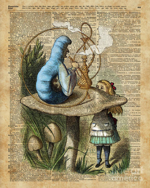 Wall Art - Digital Art - Alice,mushroom And Jin,vintage Dictionary Art by Anna W