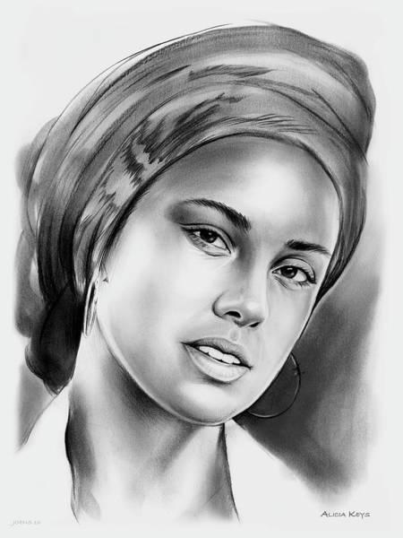 Drawing - Alicia Keys 2 by Greg Joens