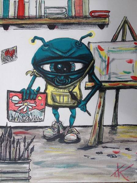 Alien Artist Art Print