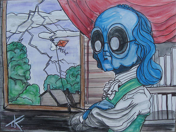 Painting - alien Ben Franklin by Similar Alien