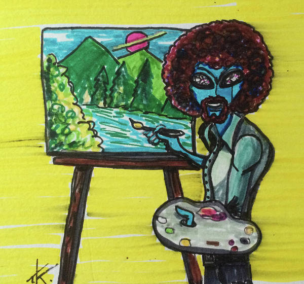 Drawing - alien Bob Ross by Similar Alien
