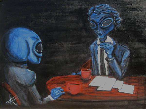 Painting - alien Charlie Rose by Similar Alien