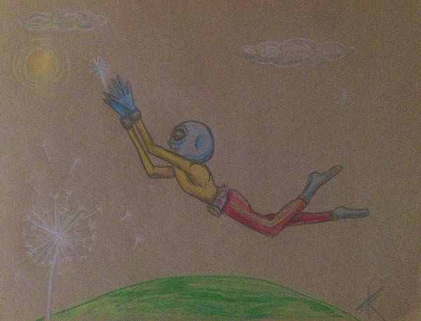 Alien Chasing His Dreams Art Print