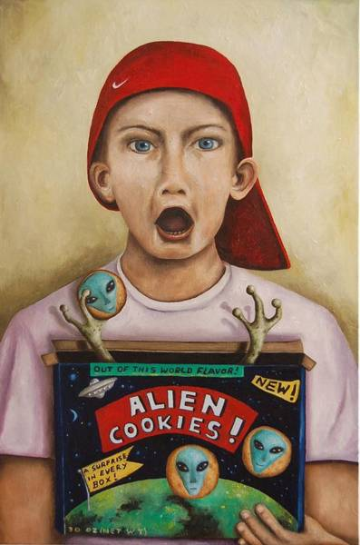 Painting - Alien Cookies by Leah Saulnier The Painting Maniac