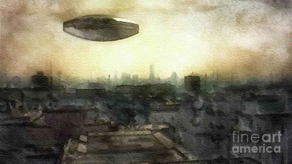 Saucer Painting - Alien Dawn by Raphael Terra