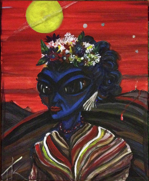 Painting - alien Frida Kalho by Similar Alien