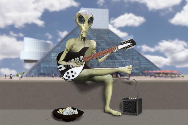 Spaceman Wall Art - Photograph - Alien Guitarist 1 by Mike McGlothlen