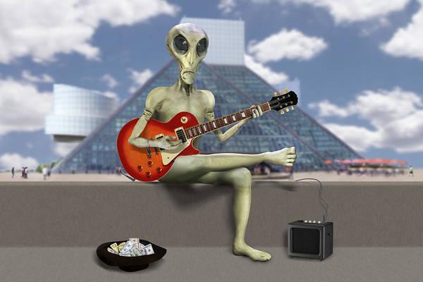 Spaceman Wall Art - Photograph - Alien Guitarist 3 by Mike McGlothlen