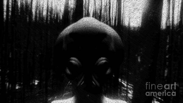 Paranormal Drawing - Alien In The Woods by Raphael Terra