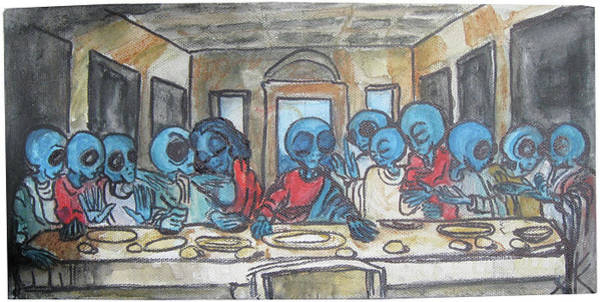 Painting - Alien Last Supper by Similar Alien