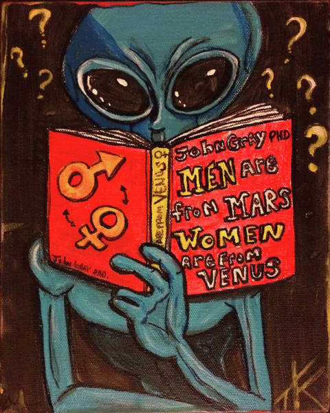Painting - Alien Looking For Answers About Love by Similar Alien