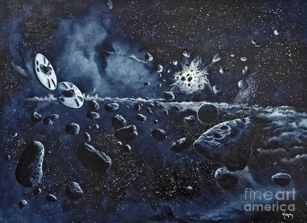 Wall Art - Painting - Alien Saucers Playing Dodge Rock by Murphy Elliott