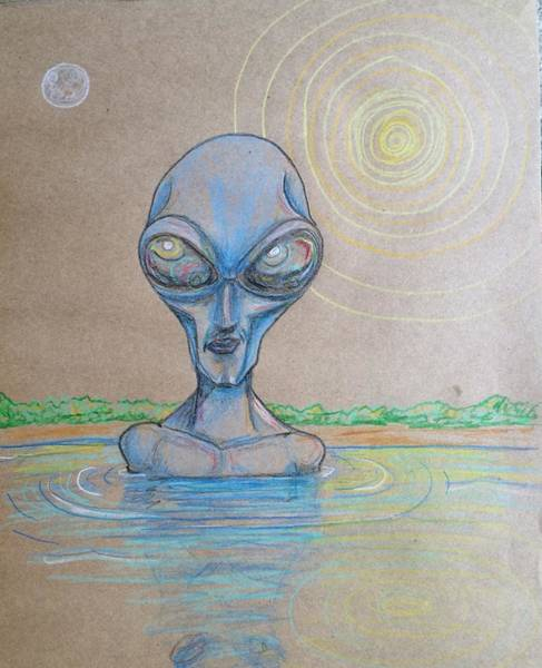 Drawing - Alien Submerged by Similar Alien