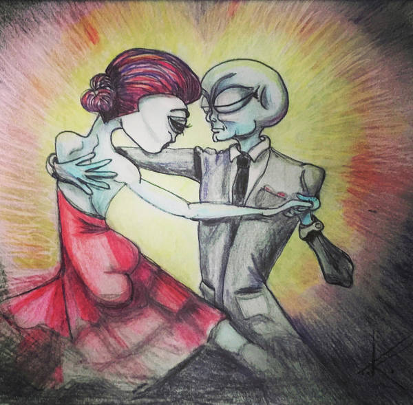 Drawing - Alien Tango by Similar Alien