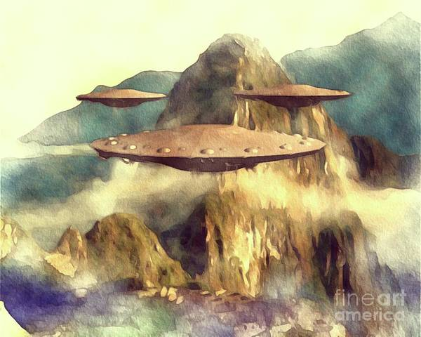 Area Painting - Alien Ufos Over Machu Picchu by Raphael Terra
