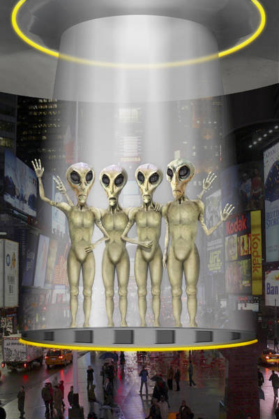Vacation Time Photograph - Alien Vacation - Beamed Up From Time Square by Mike McGlothlen