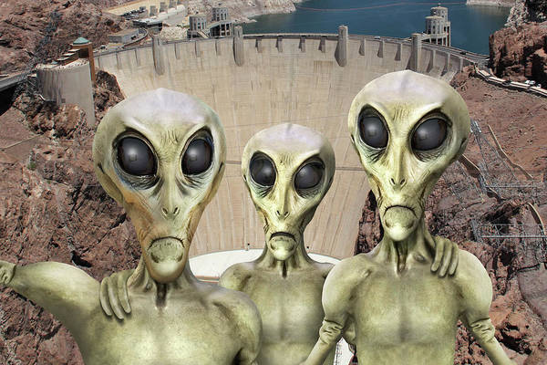 Spaceman Wall Art - Photograph - Alien Vacation - Hoover Dam by Mike McGlothlen