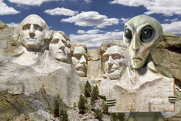 Wall Art - Photograph - Alien Vacation - Mount Rushmore 2 by Mike McGlothlen