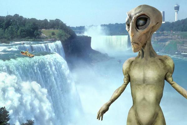 Spaceman Wall Art - Photograph - Alien Vacation - Niagara Falls by Mike McGlothlen