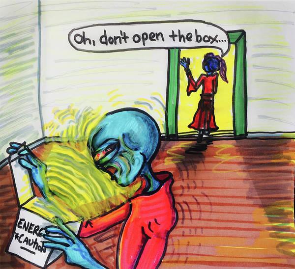Drawing - Alien Warning by Similar Alien