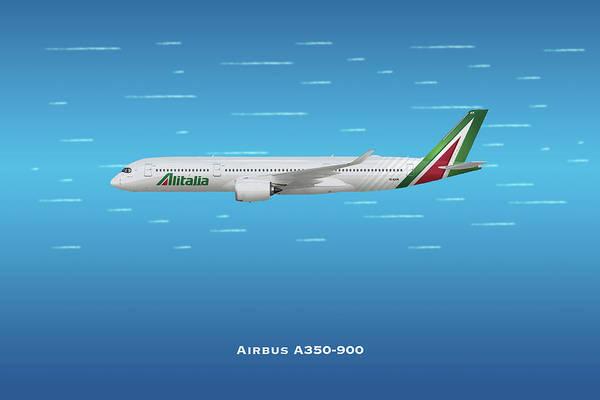Alitalia Wall Art - Digital Art - Alitalia Airbus A350-900 by J Biggadike