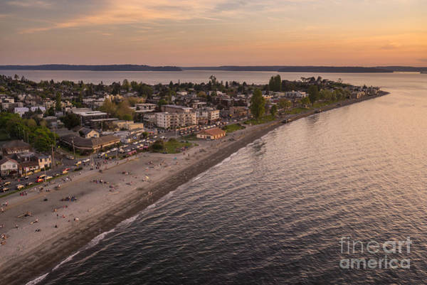 Safeco Field Photograph - Alki Point Aerial Sunset by Mike Reid