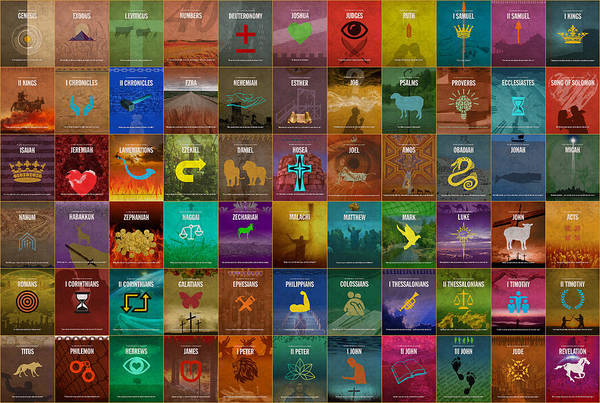 Religion Mixed Media - All 66 Books Of The Bible Old And New Testament Minimalist Graphic Design by Design Turnpike