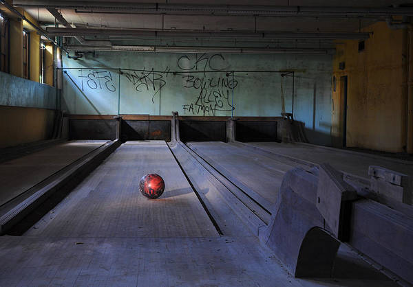 Ten Pin Bowling Wall Art - Photograph - All Alone by Luke Moore