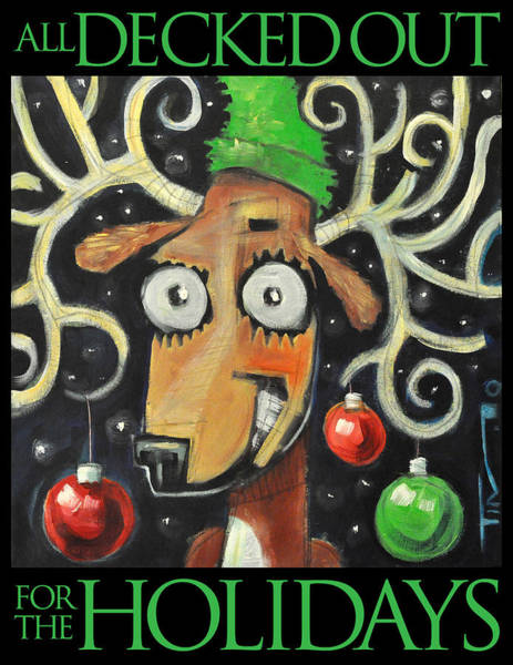 Painting - All Decked Out Reindeer With Type by Tim Nyberg