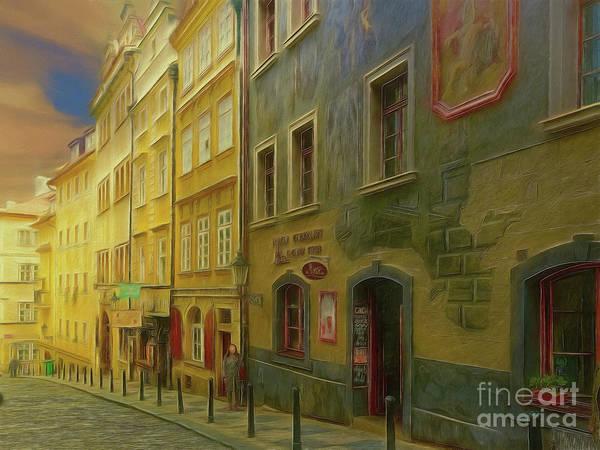 All Downhill From Here - Prague Street Scene Art Print