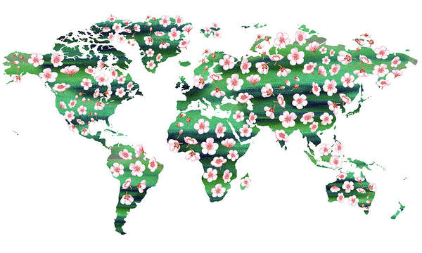 Painting - All Flowers Of The World Watercolor Map by Irina Sztukowski