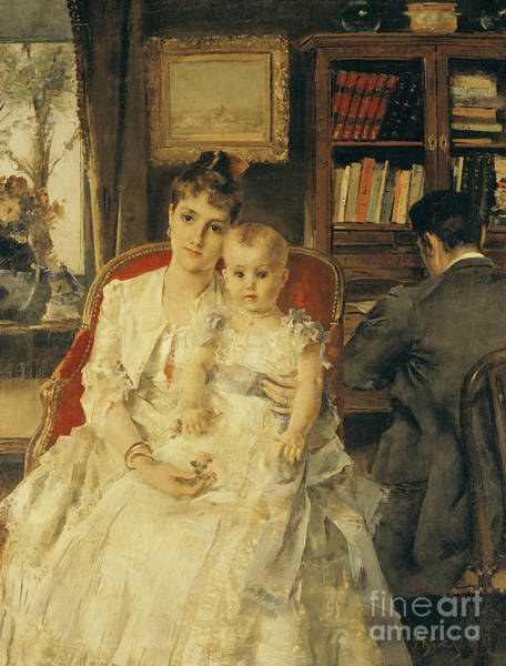 Painting - All Happiness  Family Scene by Alfred Emile Stevens