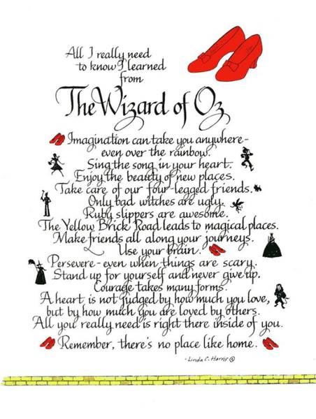 Imagination Wall Art - Mixed Media - All I Need To Know I Learned From The Wizard Of Oz by Linda Harris
