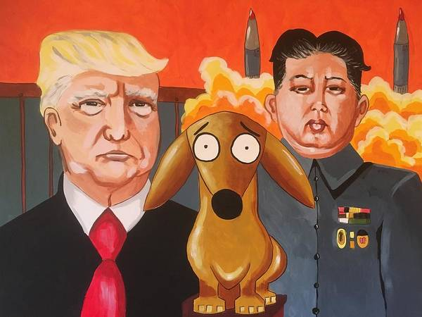 Trump Cartoon Painting - All Leo's Saying Is Give Peace A Chance by Rhondda Saunders
