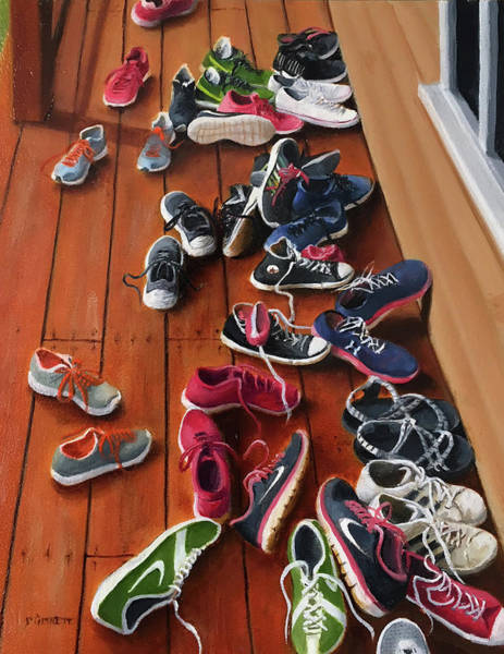 Sneakers Painting - All Shoes On Deck by Richard Ginnett