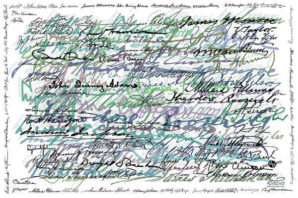 Painting - All The Presidents Signatures Teal Blue by Tony Rubino