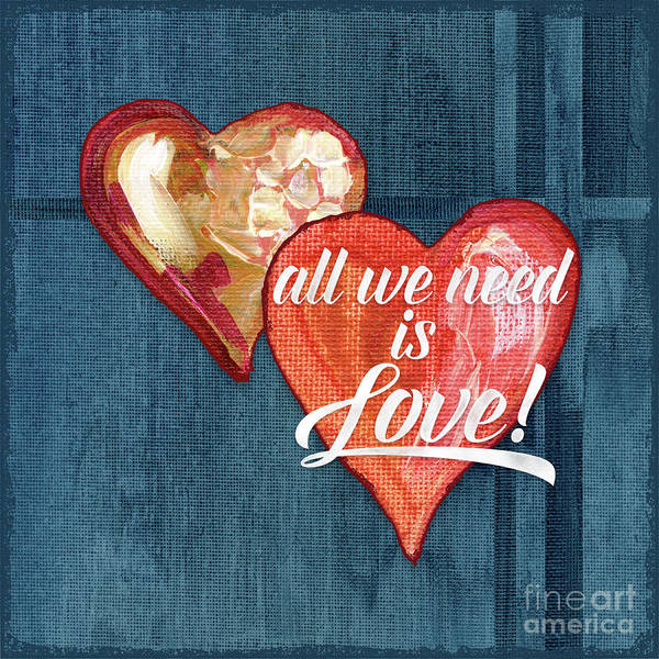 Needs Painting - All We Need Is Love Retro Script Typography Hearts by Audrey Jeanne Roberts