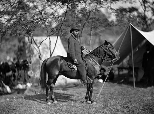 Wall Art - Photograph - Allan Pinkerton On Horseback - Battle Of Antietam - 1862 by War Is Hell Store