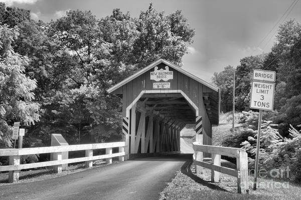 Somerset County Photograph - Allegheny Township New Baltimore Covered Bridge Black And White by Adam Jewell