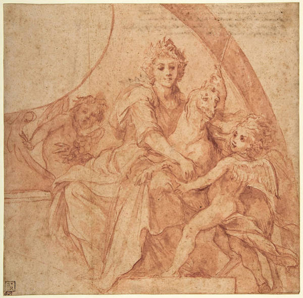 Allegorical Figure Drawing - Allegorical Figure Of Purity With A Unicorn And Two Putti by Baldassare Franceschini