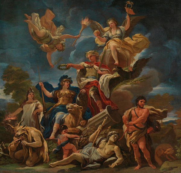 Goddess Of Love Wall Art - Painting - Allegory Of Fortitude by Luca Giordano