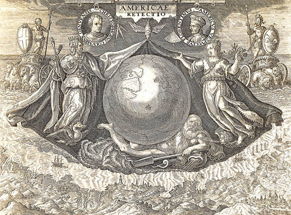 Wall Art - Drawing - Allegory Of West Indies Or Americas by Theodore de Bry