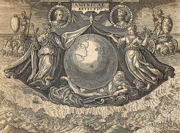 Wall Art - Drawing - Allegory Of West Indies Or Americas, With Portraits Of Navigators Columbus And Vespucci by Theodore de Bry