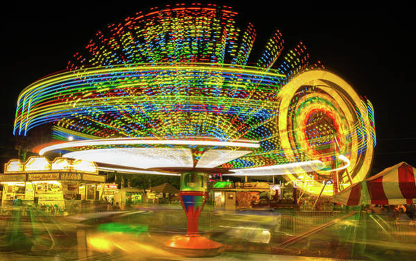 Photograph - Allen County Fair Rides At Night by Dan Sproul