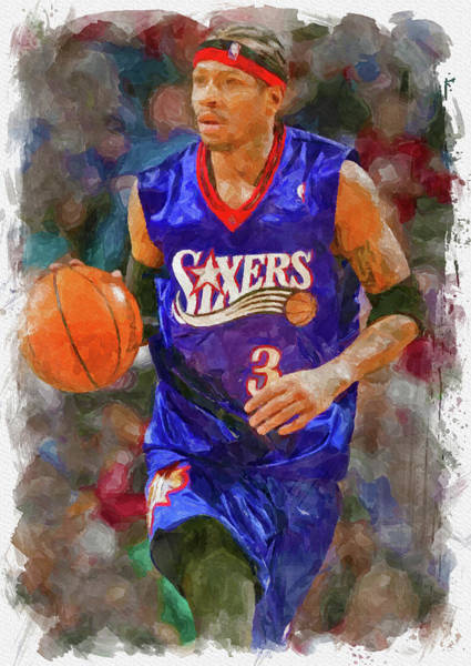 Wall Art - Digital Art - Allen Iverson Paint by Ricky Barnard