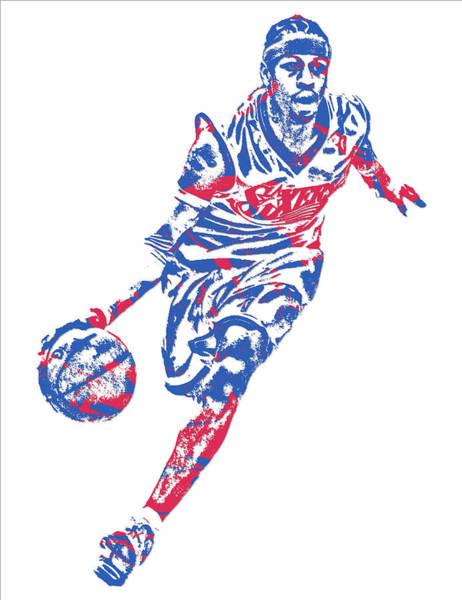 Wall Art - Mixed Media - Allen Iverson Philadelphia 76ers Pixel Art 10 by Joe Hamilton