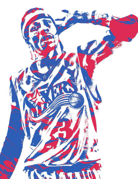 Wall Art - Mixed Media - Allen Iverson Philadelphia 76ers Pixel Art 14 by Joe Hamilton