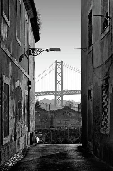 Wall Art - Photograph - Alley And Bridge Over Tagus, Lisbon by Carlos Caetano